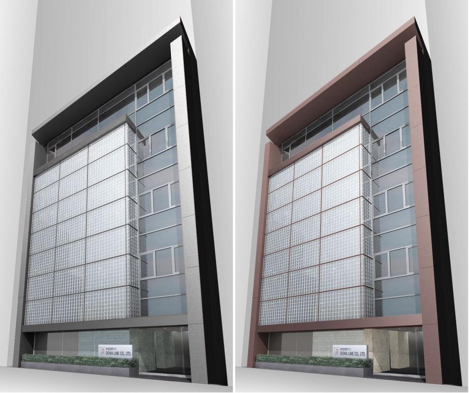 企業本社オフィスビル本社建物-00-外観デザインパースA