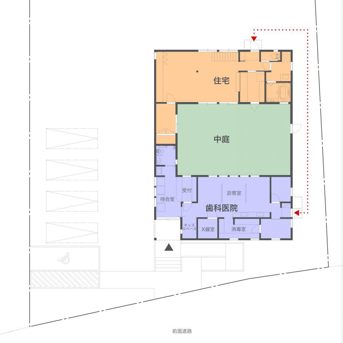 歯科医院併用住宅平屋間取りプラン平面設計図