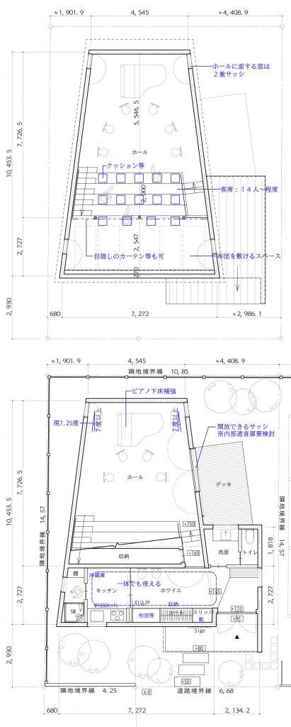 音楽室のある家-平面図